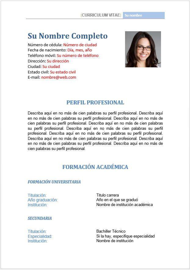 Formato hoja de vida - perfil profesional y datos