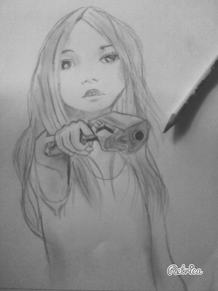 A girl with the gun #drawing