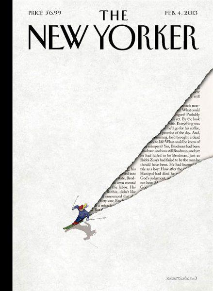Wie alles begann:  Ein Skifahrer saust einen Hang hinab, seine Spur macht...: