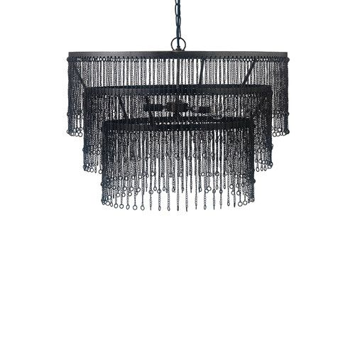 Sophisticated Elegance With A Hint Of Coastal Beach Style Inspired Our Etienne 4 Light Chandelier 3 Tiered Fringe Hand Antiqued White Wooden