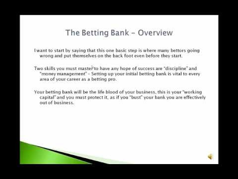 Video 1 - Racing Profits -  Setting Up Your Betting Bank - In this video I share the secret to setting up a betting bank for your betting career.