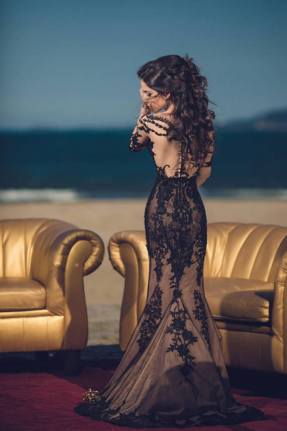Black wedding dress, black lace dress, black wedding dress, black bridal gown