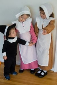 How to sew pilgrim costumes for less than $5. Includes collar pattern, directions for hat, and links to patterns for other pieces.