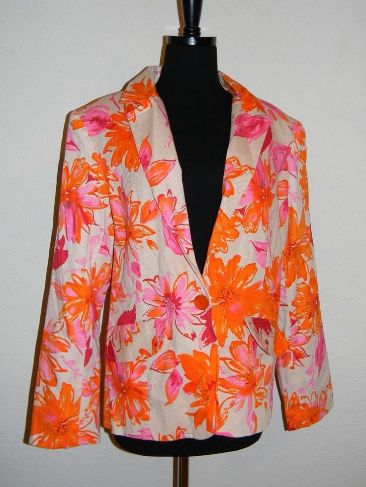 NEW QVC Susan Graver Floral Pastel Color Cotton Lined Coat Jacket Blazer Size 14 #SusanGraver #Blazer