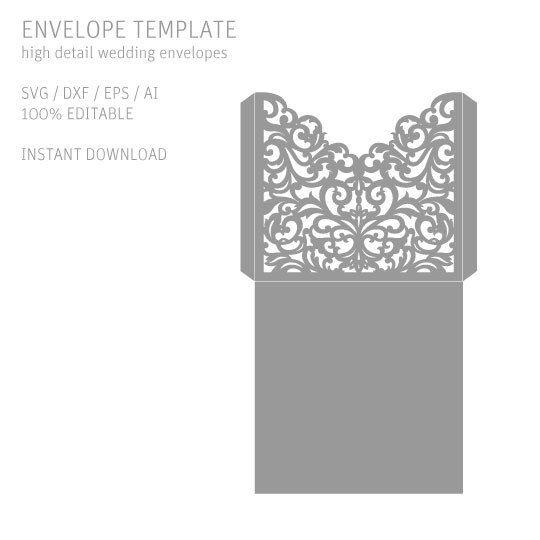 Laser Cut Files Wedding Invitation Envelope Svg Eps Ai Dxf