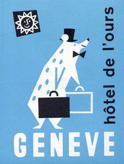 1960s Swiss Luggage Label  #vintage #graphic #illustration