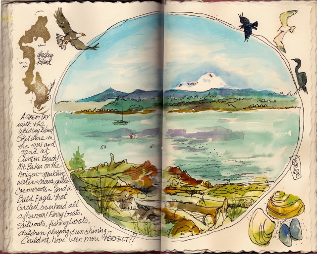 Whidbey Island Sketchers: CLINTON BEACH DAY sketch by artist Judi Nyerges
