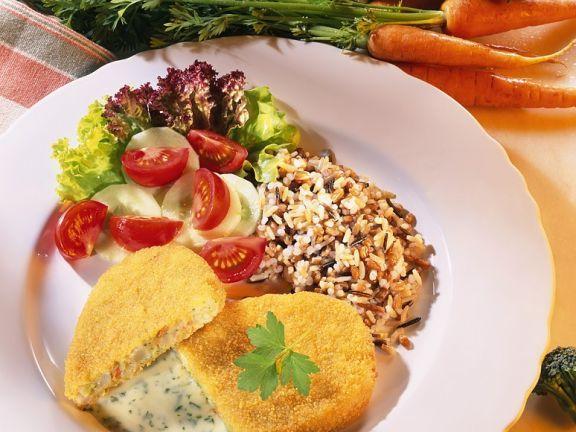 Panierte Gemüsebratlinge mit Reis und Sauce ist ein Rezept mit frischen Zutaten aus der Kategorie Blütengemüse. Probieren Sie dieses und weitere Rezepte von EAT SMARTER!