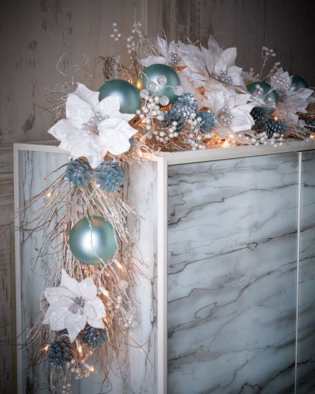 Nieman Marcus ice blue & silver pre-lit 6' Christmas garland $350.00