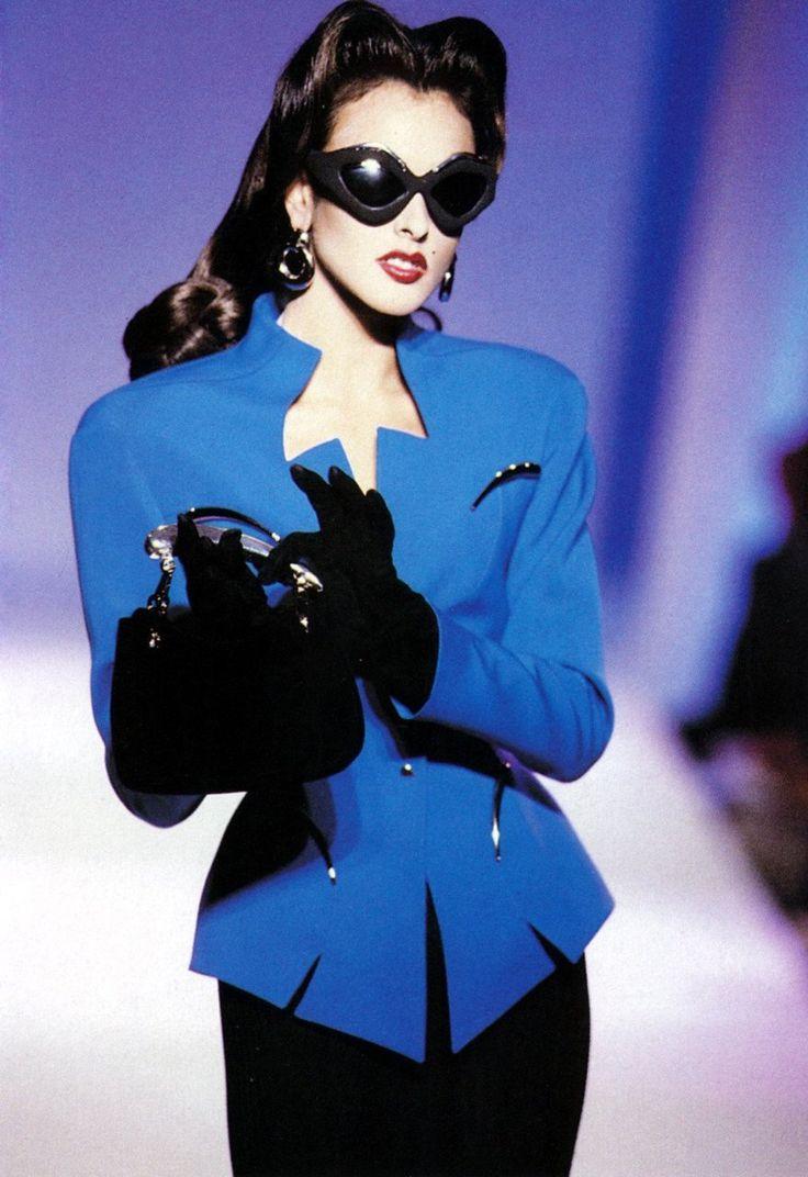 mugler 80s 40s inspired peplum suit jacket skirt black blue