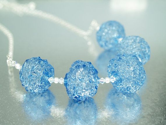 Pearly blauwe gebreide stenen ketting - lampwork sieraden - lampwork ketting - glazen kralen sieraden - glazen kralen ketting