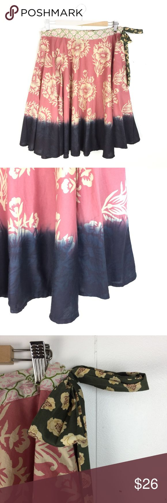 """Hoss Intropia Boho Floral Print Dip Dye Skirt / 36 Hoss Intropia a line skirt. Mixed Floral patterns with dip dye hem. Pull Gathered waist with elastic and side tie. Very good condition. Size 36, which is about a US 4. Apx 23 1/2"""" long. 15"""" waist flat. Anthropologie Skirts A-Line or Full"""