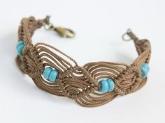 macrame cotton cord bracelet with turquoise stones