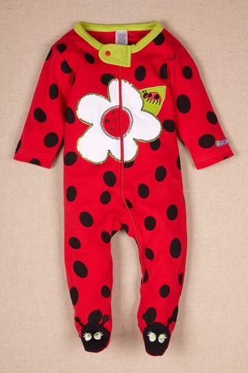 Red Ladybug Footed Romper by Sozo on @HauteLook