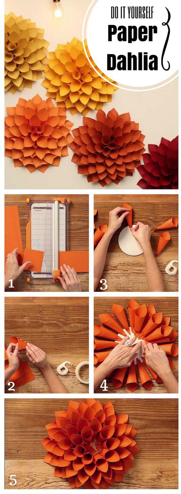 DIY Paper Dahlia - A perfect wedding or party decor.