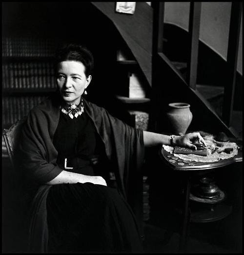 Simone de Beauvoir (author of The Second Sex) at home in Paris, 1949. Photo: Elliott Erwitt.