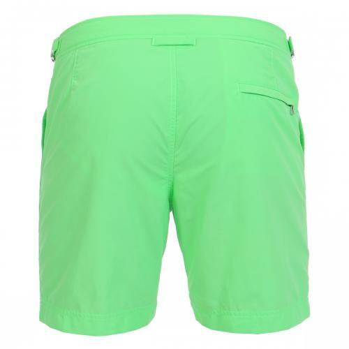 MID-LENGTH NYLON BOARDSHORTS WITH ADJUSTABLE TABS - Mid-lenght Bulldog nylon Boardshorts with two front pockets and a zippered back pocket, adjustable side straps with metal buckle, internal mesh, zip and button fly.  #mrbeachwear #beachwear #swimshort #summer #beach #mens #fashion #orlebarbrown #green