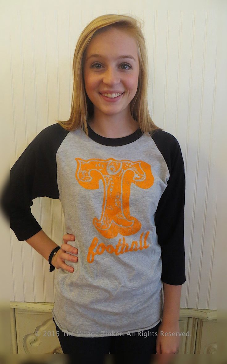 Tennessee football 3/4 sleeves tee with Orange, Black, and Sport Gray by TheVillageTinkerTN on Etsy https://www.etsy.com/listing/248459876/tennessee-football-34-sleeves-tee-with