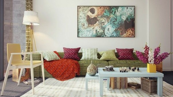 Pretty colors and soft fabrics beckon you to this living room sofa. Redecorate online with your own furniture! noneed2buy.com