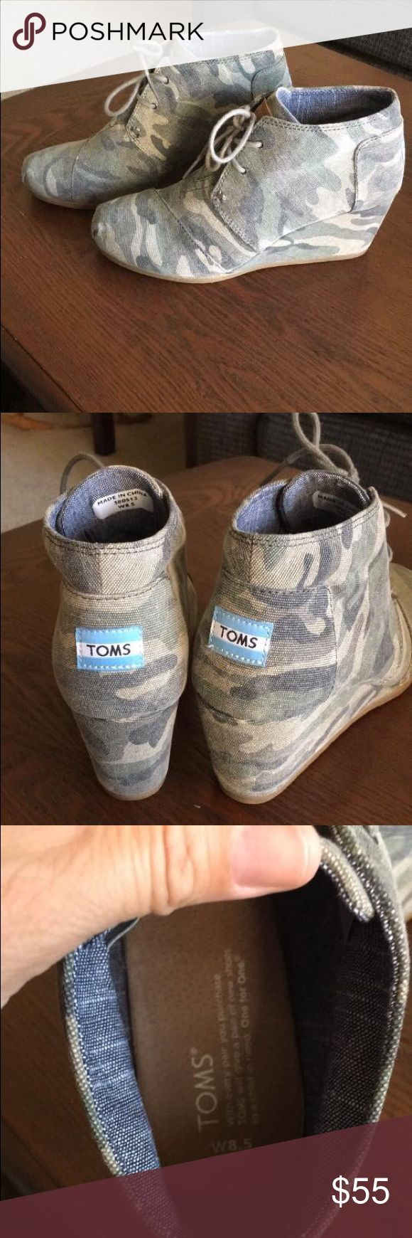 TOMS Camo Wedge Booties In EUC. Maybe worn once? Size 8.5 women's. TOMS Shoes Ankle Boots & Booties