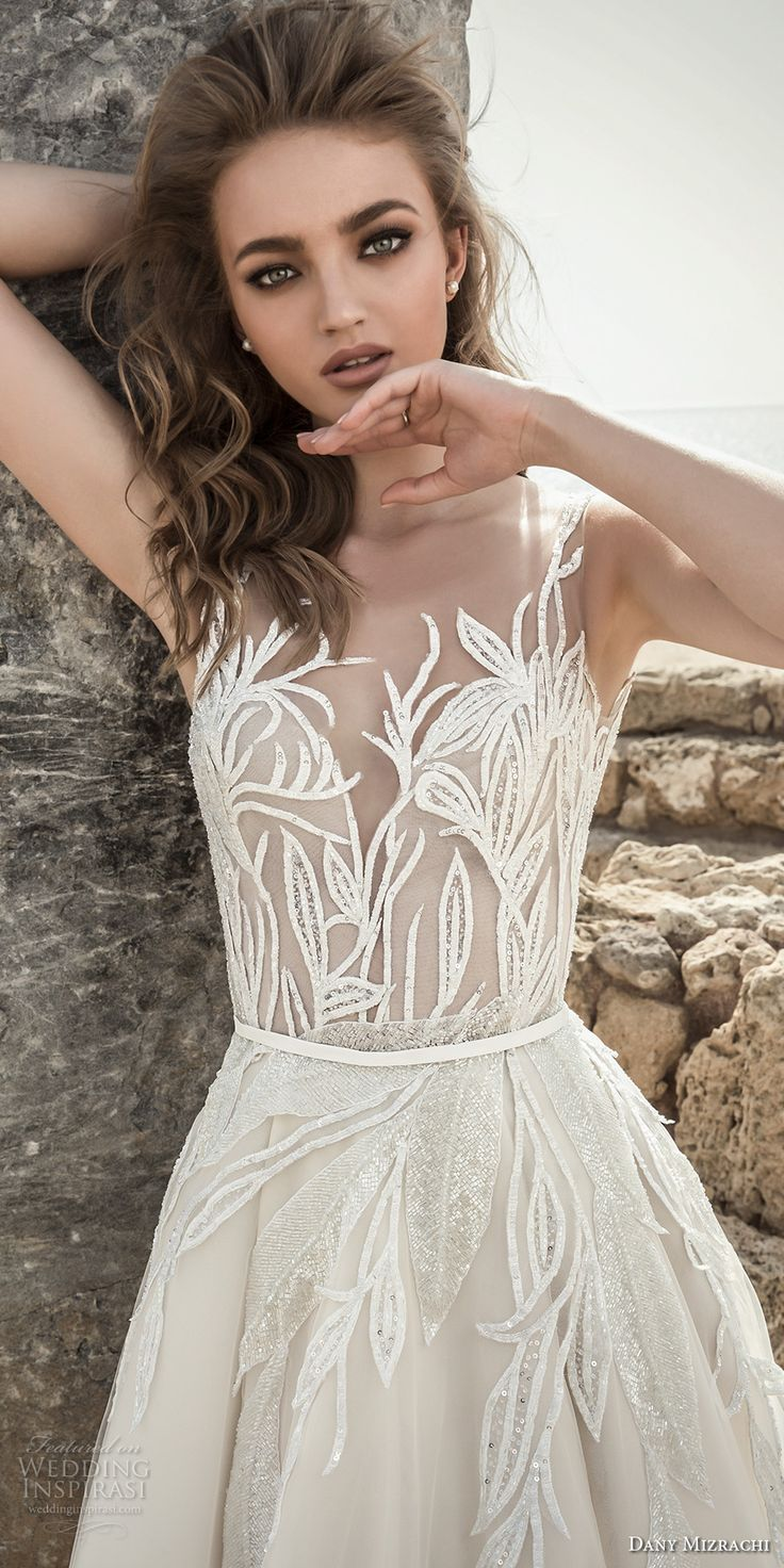 danny mizrachi 2018 bridal embroidered strap sleeveless deep plunging sweetheart neckline heavily embellished bodice romantic a  line wedding dress open scoop back (10) zv -- Dany Mizrachi 2018 Wedding Dresses