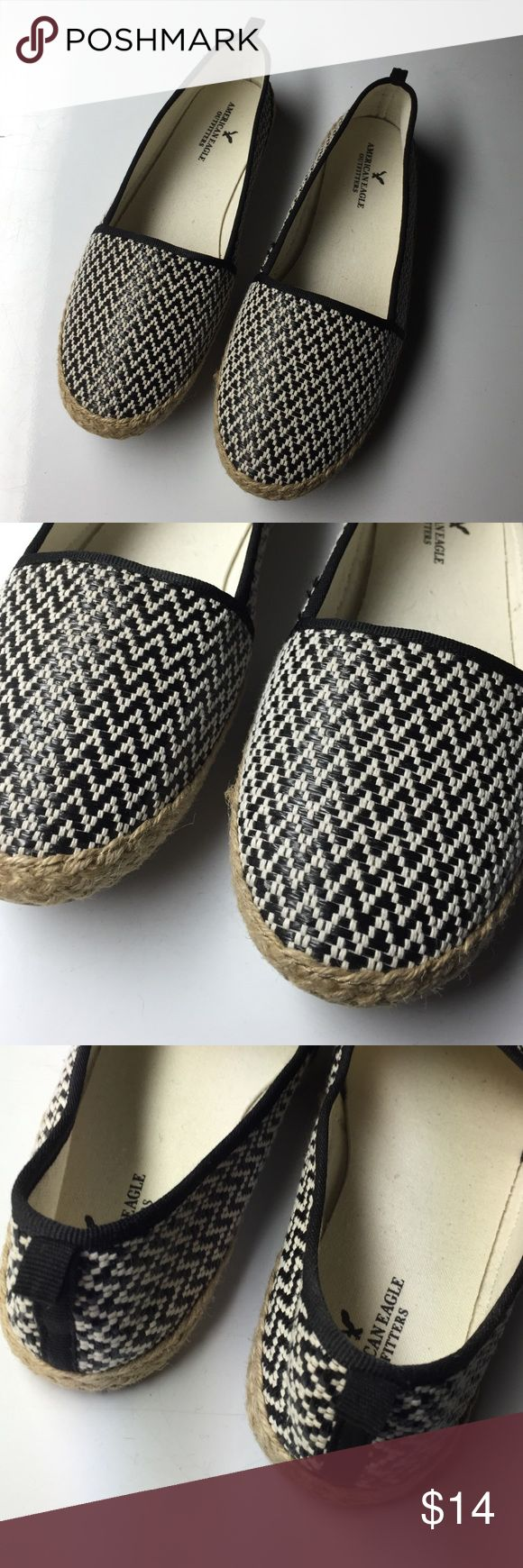 black and white espadrille flats adorable and NWOT. black and white. true to size. 20% off all bundles. American Eagle Outfitters Shoes Flats & Loafers