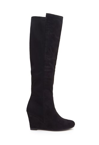 Black Suede Knee-High Wedge Boots | FOREVER21 - 2000129979 $45