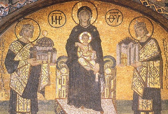 Theotokos Amid the Emperors Justinian and Constantine