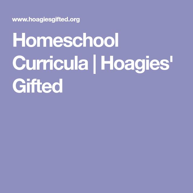 Homeschool Curricula | Hoagies' Gifted