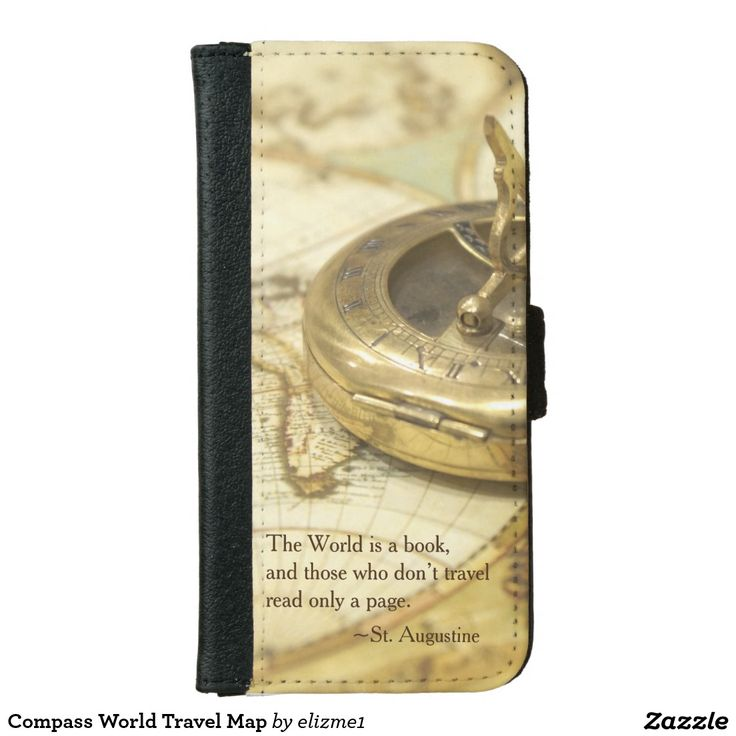 """Compass world traveller iPhone wallet, so convenient for your everyday essentials. The phone is decorated with an antique brass compass and  a vintage map with a quote from Saint Augustine, """"The world is a book and those who don't travel read only a page.."""""""