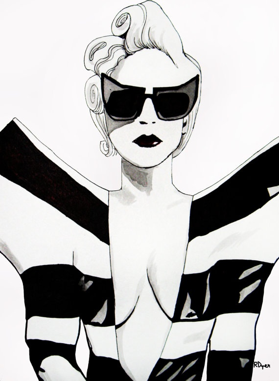 Fashion illustration Lady Gaga
