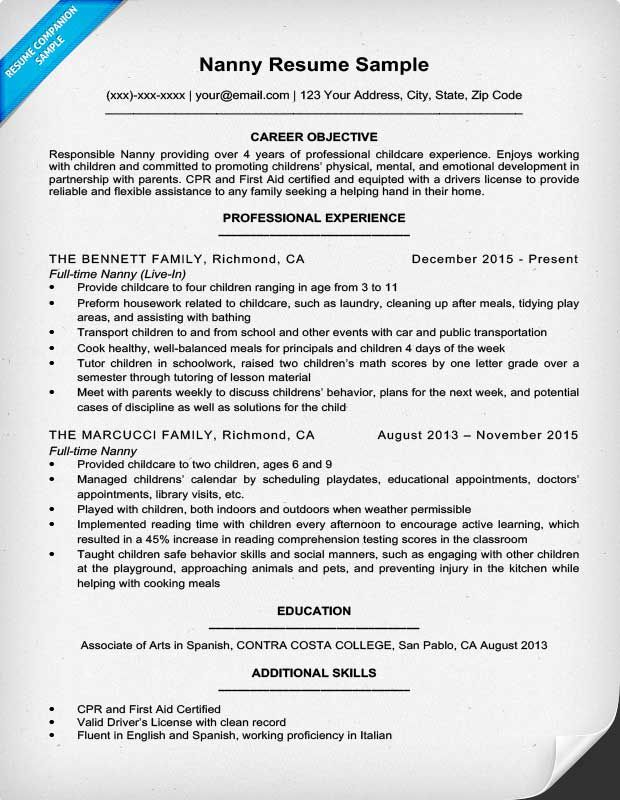 nanny resume sample amp writing tips companion pics photos examples
