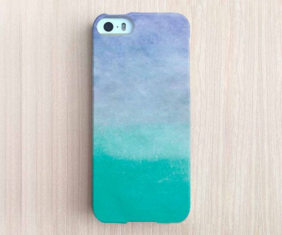 iPhone 6 Case, iPhone 6 Plus Case, iPhone 5S Case, iPhone 5 Case, iPhone 5C Case, iPhone 4S Case, iPhone 4 Case - Water Color Ombre Teal
