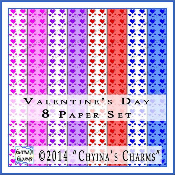 Valentine Hearts Digital Scrapbook Papers Set of Eight in Red / Blue / Pink / Purple - PP0005