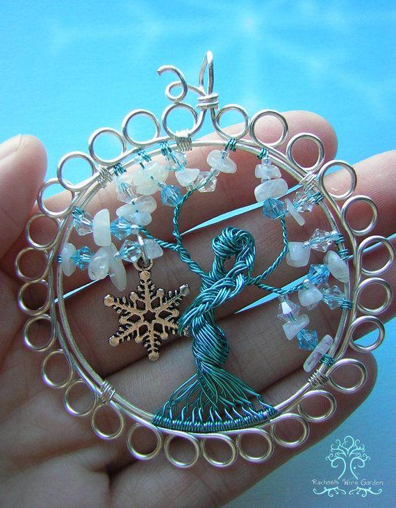 Reine des neiges hiver Tree of Life fil enveloppé pendentif bijoux