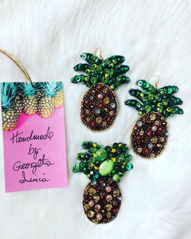 pineapple earrings and brooch