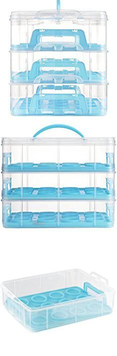 Cupcake Taker. VonShef Snap and Stack Blue 3 Tier Cupcake Holder & Cake Carrier Container - Store up to 36 Cupcakes or 3 Large Cakes.  #cupcake #taker #cupcaketaker