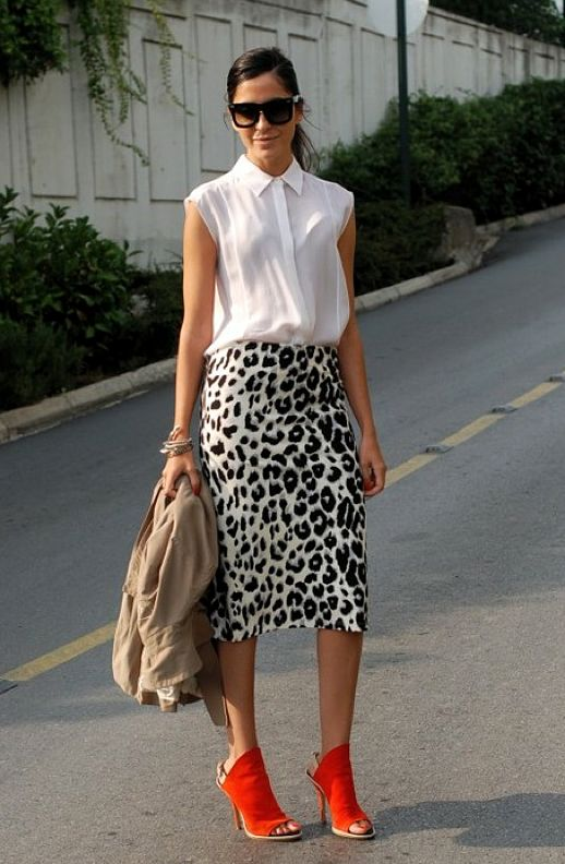 Buttoned up shirt + animal print skirt + bright shoes = on trend goodness for work. #work wear. #summer. #thedailystyle.