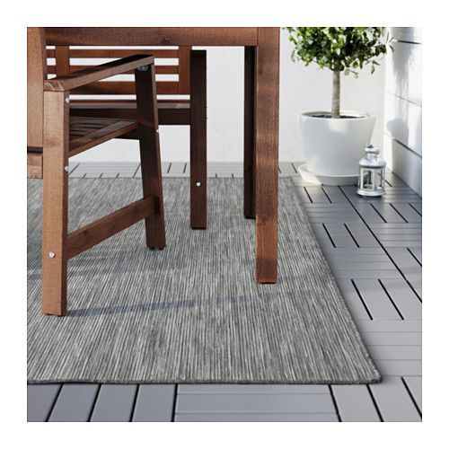 """outdoor rug that might work? i like the color with the teal chairs/ gray dining chairs:   HODDE Rug, flatwoven - 6 ' 7 """"x9 ' 10 """" - IKEA"""