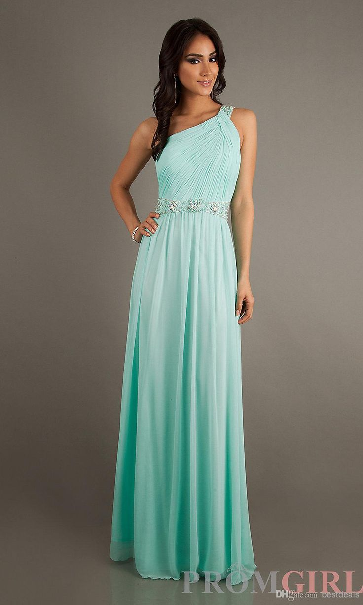 Wholesale Bridesmaid Dress - Buy Bridesmaid Dresses Sexy One Shoulder A Line Floor Length 2014 Prom Dresses Party Dresses with Beads Sash BO...