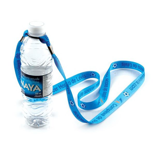 "This water bottle holder measures 3/4"" wide and is made of deluxe woven polyester. Choose between a 36"" and 54"" lanyard length. Each holder features a super strong and durable double rubber ""O"" ring to keep your bottle snug and secure. Offered in several colors, don't forget to add an imprinted name or logo!  Width: choice of 3/4"" (silkscreen) or 7/8"" (sublimation) Length: choice of 36"" or 54&qu..."