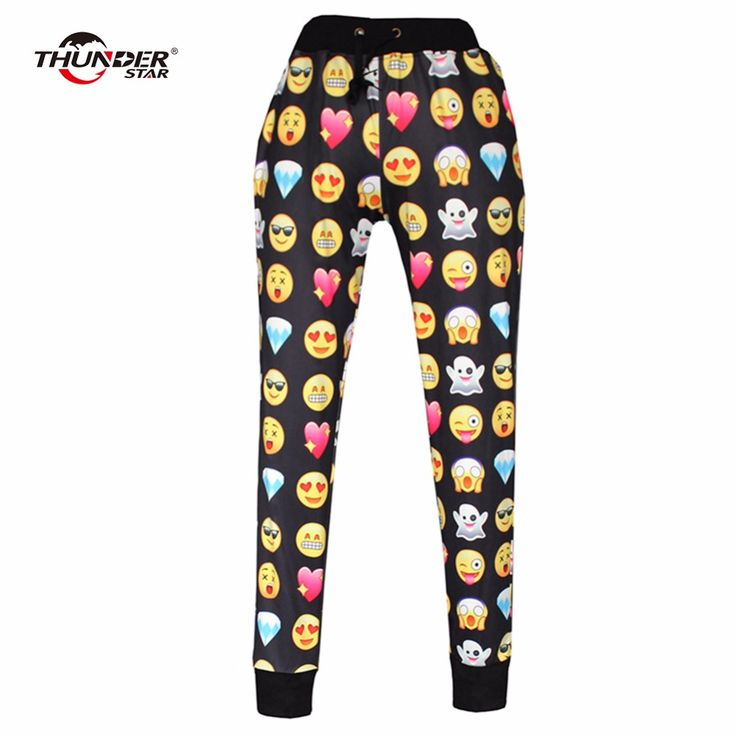 THUNDER STAR Emoji style print pants funny cartoon sweatpants black & white thicken long joggers trousers wear female 800137 #Affiliate