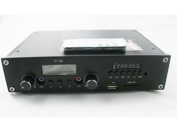 New Arrival ST-15M 15W USB FM Transmitter PLL 88-108MHz with MP3 player function + GP100 1/4 wave antenna +Power supply Kit cover 2KM-4KM - Powered by www.Fmuser.org