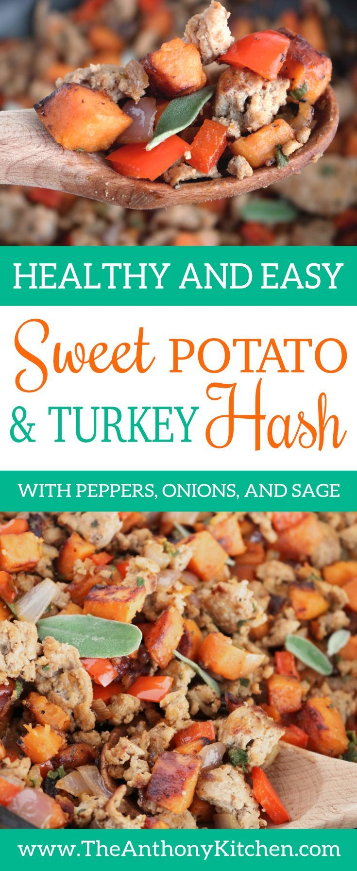 Breakfast Hash Recipe  An easy sweet potato hash, featuring ground turkey, peppers, onions and fresh sage.Eat as is, or top it with a fried egg!   #potatohashrecipe #turkeyhashrecipe #makeaheadbreakfast #sweetpotato #groundturkey