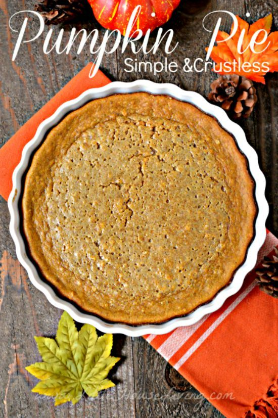 Simple Crustless Pumpkin Pie Recipe. So YUMMY and perfect if you are gluten free!