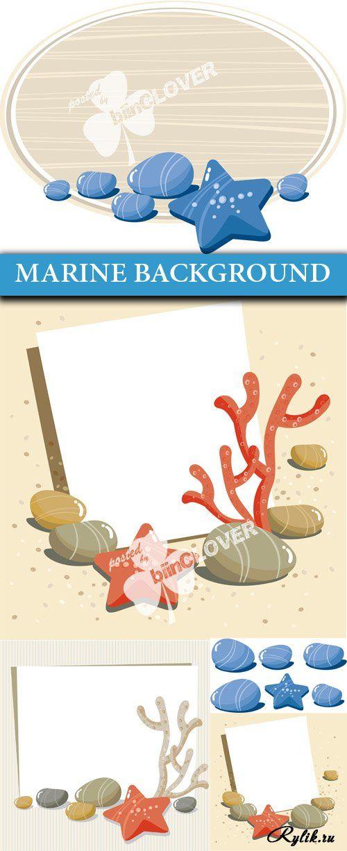 Морской фон с рамками - вектор. Marine background - Vector