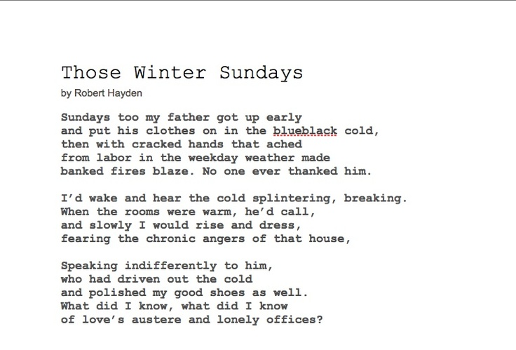 a literary review of those winter sundays a poem by robert hayden Robert hayden was an african-american poet and professor who is best known as the author of poems, including those winter sundays and the middle passage&rdquo people hayden often found himself socially isolated he found refuge in literature, developing interests in fiction.