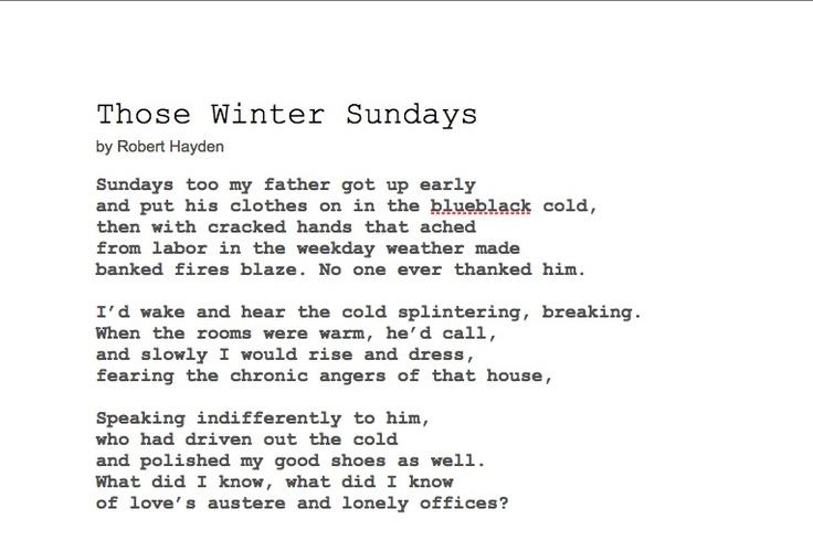 Those Winter Sundays