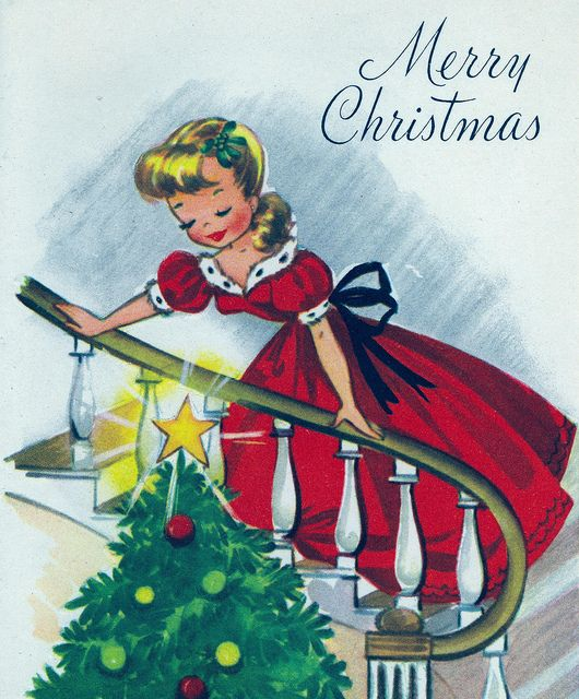 A charming vintage Merry Christmas card. #vintage #1940s #1950s