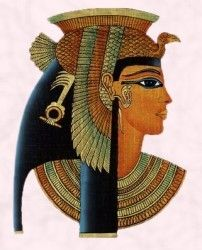 Here is a picture of an example of how the Egyptian women would wear their makeup, which resembles my other photo of Elizabeth Taylor in the movie Cleopatra.  There makeup was made up of dark, thick lines, that enhanced the size of their eyes because the end of the eyeliner was extended past the corner of the eyes for the winged-eyeliner look we now know today.  This picture also resembles a headpiece and a large necklace that is beaded.